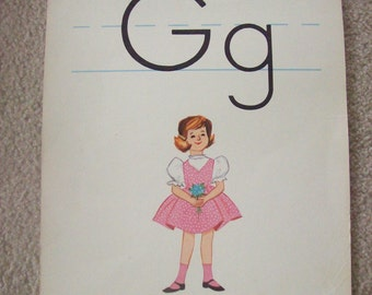 "Vintage Alphabet Flashcard 14"" by 11"" Letter G for Girl by Milton Bradley"