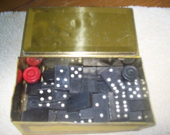 SALE Vintage Tin Johnston Candy Box wwith 42 Dominoes and 7 Wooden Round Game Pieces Was 12.00
