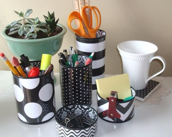Black and White Geometric and Damask Desk Accessories and Coaster / Pencil Holder / Pencil Cup / Desk Organizer / Office Decor - 809