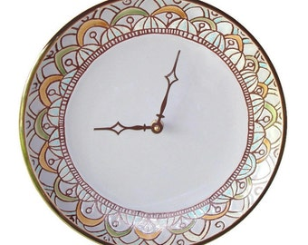 ON SALE!  Stoneware Plate Clock in Gray with Floral Trim / Kitchen Clock / Unique Wall Clock / Unique Wall Decor / 1688