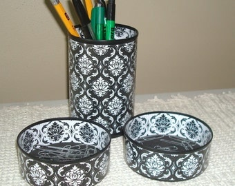 Black and White Damask Desk Accessory Set - Pencil Holder - Pencil Cup - Office Organization - Office Decor - 605