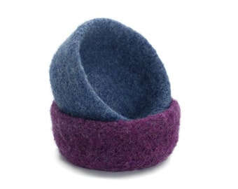 Felt Bowls Set Of 2 Purple Blue Knitted Felted Baskets Containers Soft Storage Desk Organizer Ring Dish Student Kids Back to School