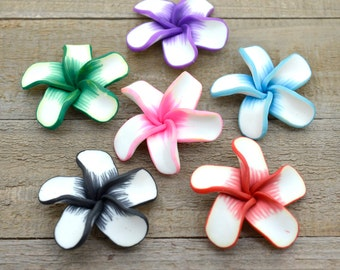 Polymer Clay Flowers, 6 pcs, 45mm,  Polymer Clay Flowers, Floral beads, Fimo  Flower Beads -B122