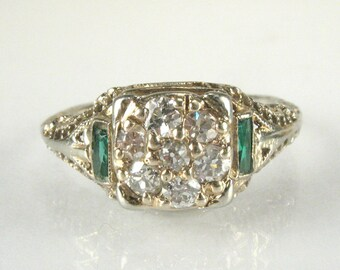 "Antique Old European Cut Diamond Engagement Ring with ""Synthetic Emerald"" GREEN STONE Accents"