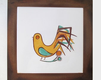Stylized BIRD TRIVET Or Wall Hanging Vintage ACTION
