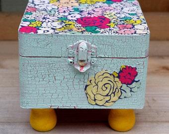 Handmade Floral Jewelry Box Vintage Style