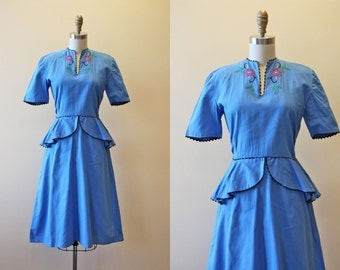 1940s Dress - Vintage 40s Dress - Blue Embroidered Cotton Peplum Garden Party Dress S M - Lullabye