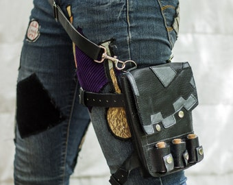 Leather Utility Belt- Leg Harness- Black and Silver Design- Steampunk, Unisex Festival Belt, Bag, Burning Man, Tribal, Forest, Elf, Lolita