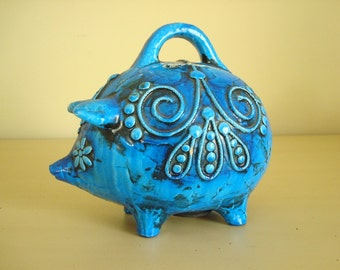 Flower power piggy bank, blue piggy bank, Fitz & Floyd papier mache bank, psychedelic 1960s saving bank, groovy sixties, embellished pattern