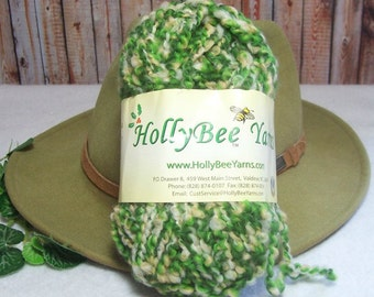 Holly Bee Green Multi Yarn, Wool with Poly Twist, Destash Item, Bin 12