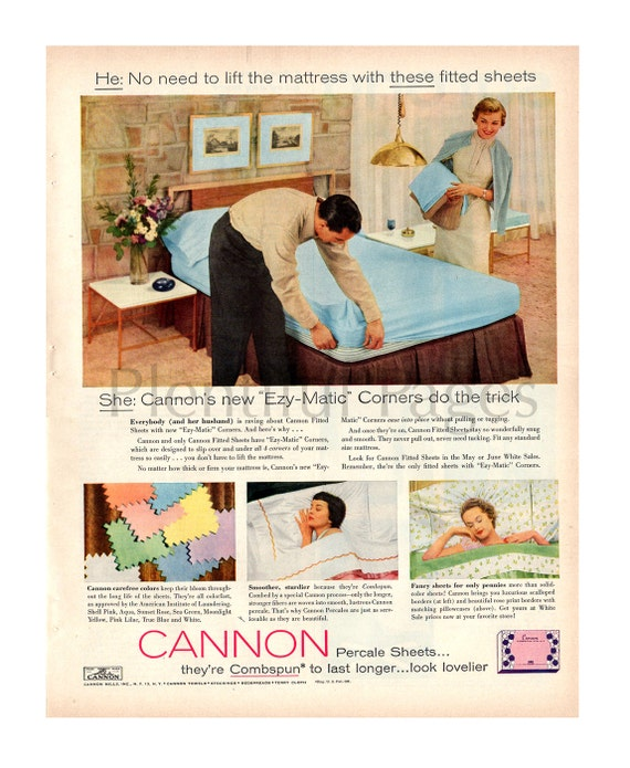 1955 Cannon Percale Sheets Vintage Ad 1950 S Decor
