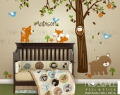 Carters Woodland Friends -Tree Forest Friends with Custom Name ,Bear Wall Decal Nursery,Baby Wall Decals Wall Sticker