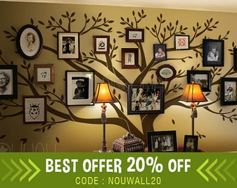 Tree Wall Decals Wall Stickers - Big Family Tree decal - Photo frame tree