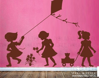 Little Girls silhouette, picking flowers, pulling wagon, and flying a kite Children,Kids Wall Sticker Wall Decal