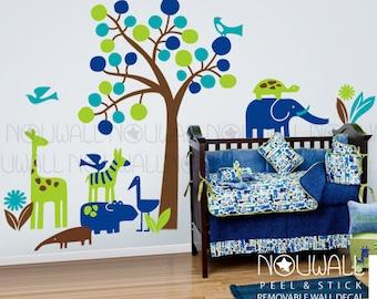 Zoology Wall Decal ,Elephant, Giraffe, Zebra, Hippo, Nursery, Tree Wall Decals Wall Sticker
