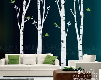 Birch Tree Wall Decal , bird Wall Decal Wall Sticker,office wall decals ,wall decor, home decor,vinyl - 10 FREE BIRDS -075