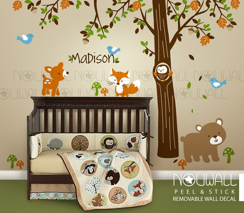 Carters woodland friends tree forest friends with custom name for Woods themed nursery