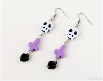 Pastel Goth Inverted Cross and Skull Earrings, Black, Purple, White, Surgical Steel