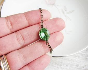 Peridot Green Glass Jewel Bracelet Stackable Bracelet Glass Gem Bracelet Oval Vintage Rhinestone Bracelet Simple Modern Minimalist Jewelry