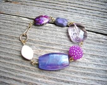 Purple Statement Bracelet Chunky Beaded Bracelet Stackable Bracelet Minimalist Jewelry Beaded Bracelet Simple Fashion Bracelet