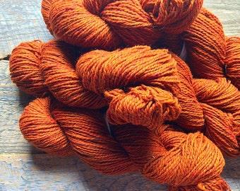 Yarn for knitting - Autumn maple, pumpkin, orange wool, Peace Fleece, worsted weight, Glasnost Gold