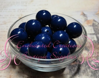24mm Navy Blue Acylic Beads Qty 60 Wholesale
