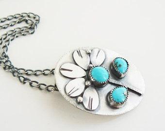 Turquoise flower pendant - botanical summer pendant - silver flower - handmade sterling pendant
