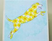 Labrador Retriever Art Block- Jumping Dog Art- Rustic Finish- Watercolor Flower Dogs- Home Decor- Nursery Decor- Dog Wall Art- Milk Paint