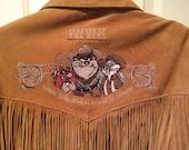Vintage Warner Brothers Suede Western Fringe Blanket Lined Coat Jacket Taz Bugs