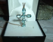 Exquisite 10K Gold Blue Topaz Cross Pendant and 10K Gold Chain