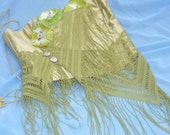 Embellished Fabric Top, Green Fringed Top, Altered Top, Fantasy Top by mystic2awesome