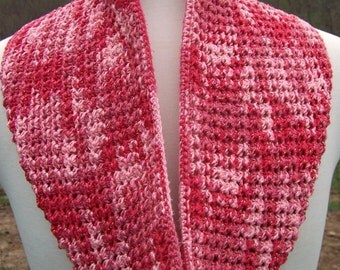 Scarf crochet pink infinity silk soft neck accessories long gift for woman scarf with flower sparkle pink rose blooms shade of pink