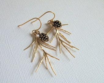 Gold Pine Cone Earrings, Botanical Jewelry