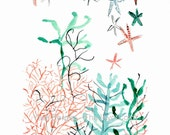 Sea garden, art print of watercolor painting, abstract corals, sea kelp and sea star, Turquoise, coral, coastal style art, modern art