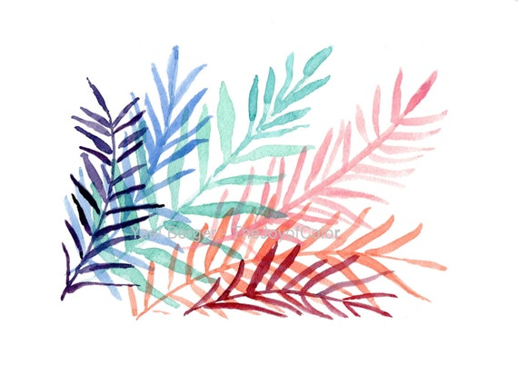 art print Colorful Ferns, modern fern watercolor, fern leaves, tropical art, contemporary art, purple, turquoise, pink,  modern home decor