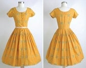 1950s vintage Gretta Plattry cotton dress * yellow floral print + brass buttons *50s vintage dress