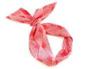 Coral Feather Wire Headband - Fabric Scarf Bandana Turban Wrap - Handmade in Berkeley California by Mane Message on Etsy