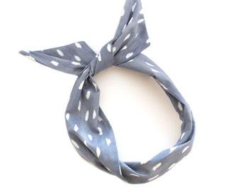 Grey and White Polka Dot Wire Headband - Neutral Print Fabric Scarf Bandana Turban Wrap - Handmade in California by Mane Message on Etsy