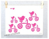 Bicycle Art, Birds, Cute Nursery Art, Rainbow, Wall Art, Kids Room Art, Bicycle wall Art, Whimsical Art print, Bird Print, Bicycle Print