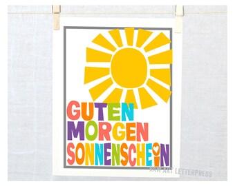 German - Auf Deutsch - Guten Morgen Liebchen - Kitchen Art Print - Baby Nursery Decor - Kinder - Guten Morgen Sonnenchein - Poster