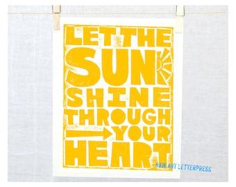Sunshine Print , Baby Nursery Wall Art, Kitchen Art, Typography, Block Print, Love, Solar