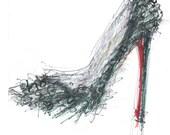 Spike, Red Bottom Shoe Print, Louboutin Stiletto