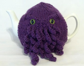 Made to Order - Purple Curly Cthulhu Tea Cosy - a warm and washable sweater for your teapot