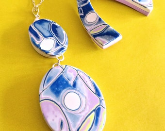 Necklace and Earrings of Polymer Clay, Swirls of color, Blue and Pink Jewelry Set, Gift for Her