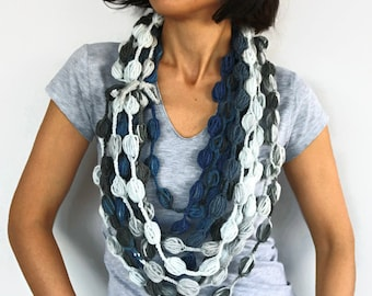 Infinity Scarf, Unusual Scarflette, Crochet Candy Necklace Neckwarmer in Grey Blue Hues, Handmade
