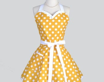 Sweetheart Retro Apron - Vintage Pinup Style Yellow and White Polka Dot Full Kitchen Apron