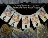 CHERUBS CARDS Banner for suitcase birdcage trunk box / Vintage Paris FRENCH Wedding Decor / Garland Sign / CHooSE TeXT / 3 DayShip (refCban)