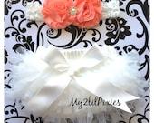 Baby Girl Ruffle Bum TuTu Bloomer  and Peach shabby Headband set, Lace Shabby Chic Headband, Cream and Peach Set , Ruffle bum newborn photo