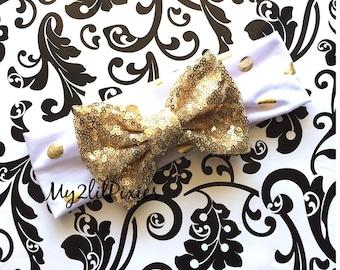 Sequins Bow, Gold Headband, Baby Girl Headbands, Head wrap, Headband, Gold Bow, Fabric Headband, sparkle bow ,newborn headband, headwrap