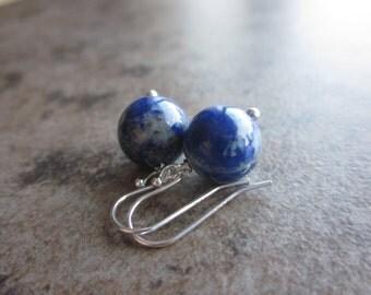 Lapis Lazuli Orb Earrings, Gemstone Rounds, Cobalt Blue, 925 Sterling Silver, Minimalist, Gift for Her; Throat, Third Eye, Crown Chakra